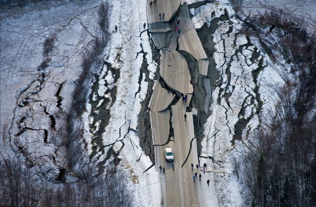Anchorage Alaska Earthquake Birds Eye View