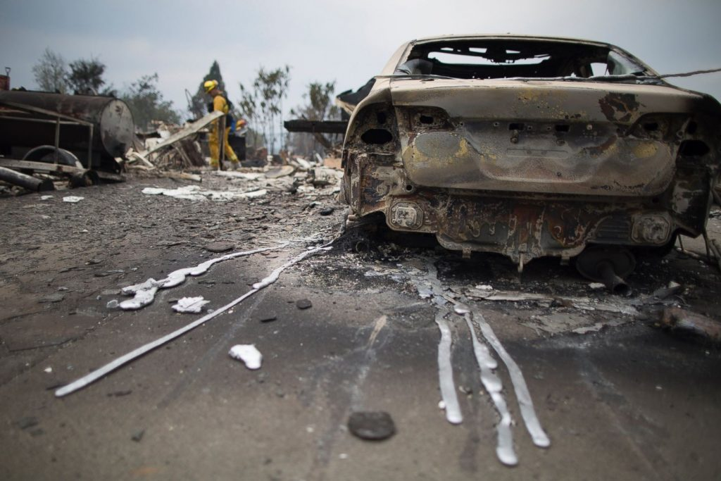california wildfire car melted aluminum