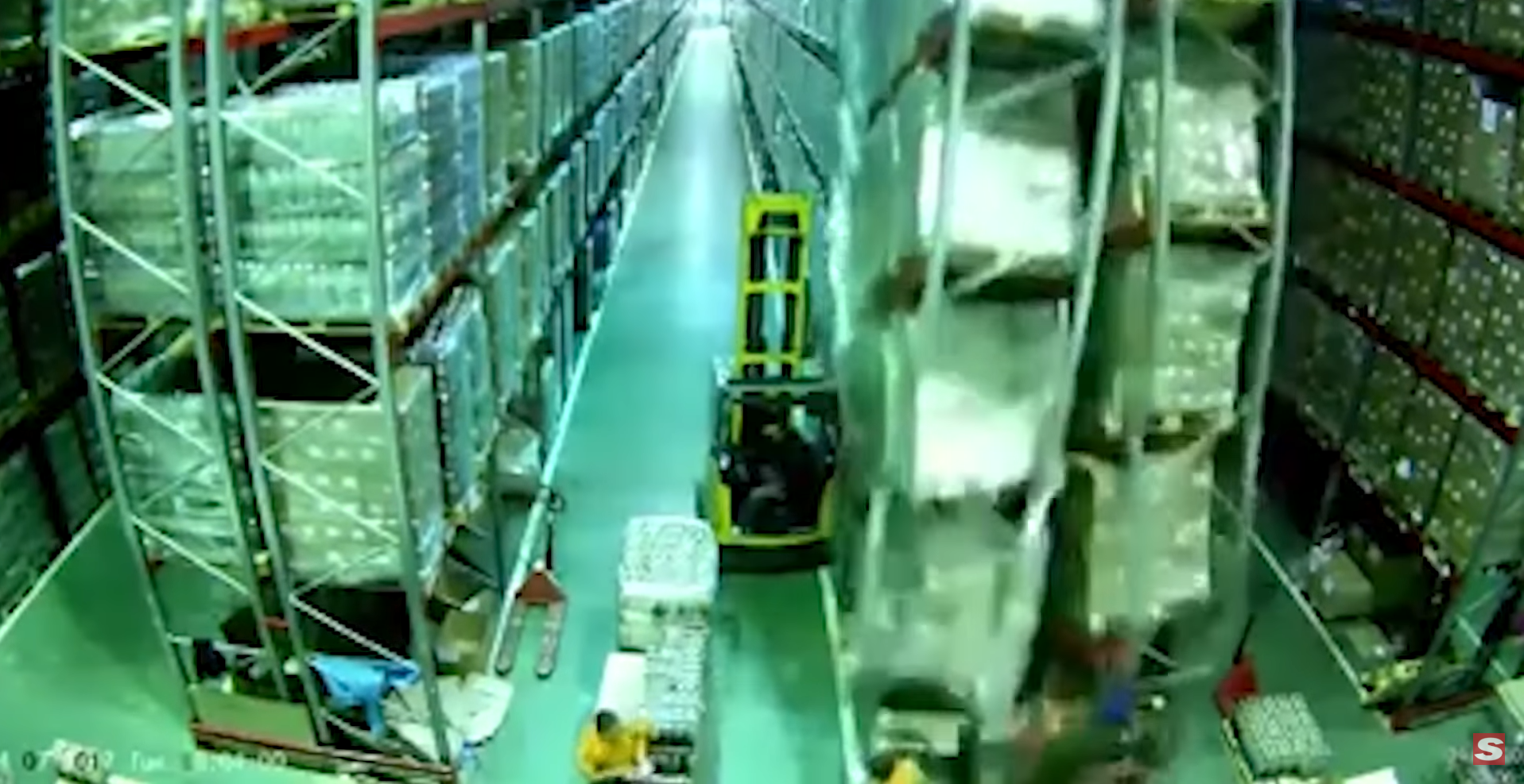 forklift causes warehouse to collapse