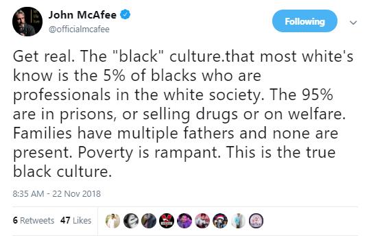 john mcafee black culture