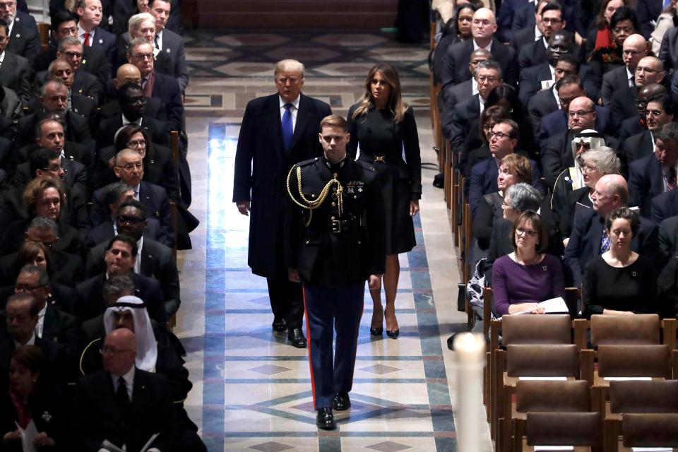Donald Melania Trump Arriving At George H W Bush Funeral