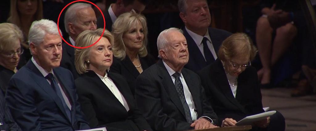 Joe Biden Sleeps At George H W Bush Funeral 3