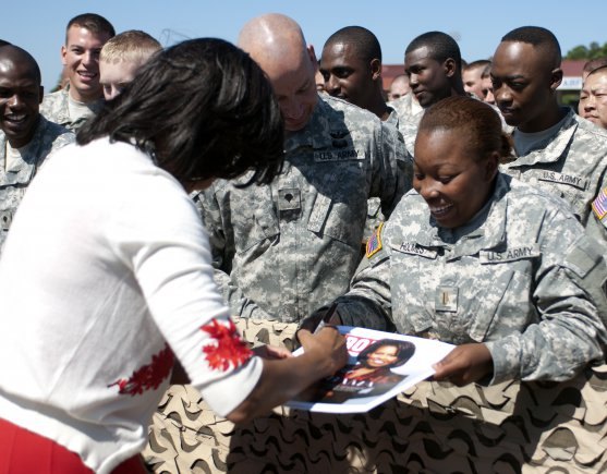 Michelle Obama Signing Photo Military