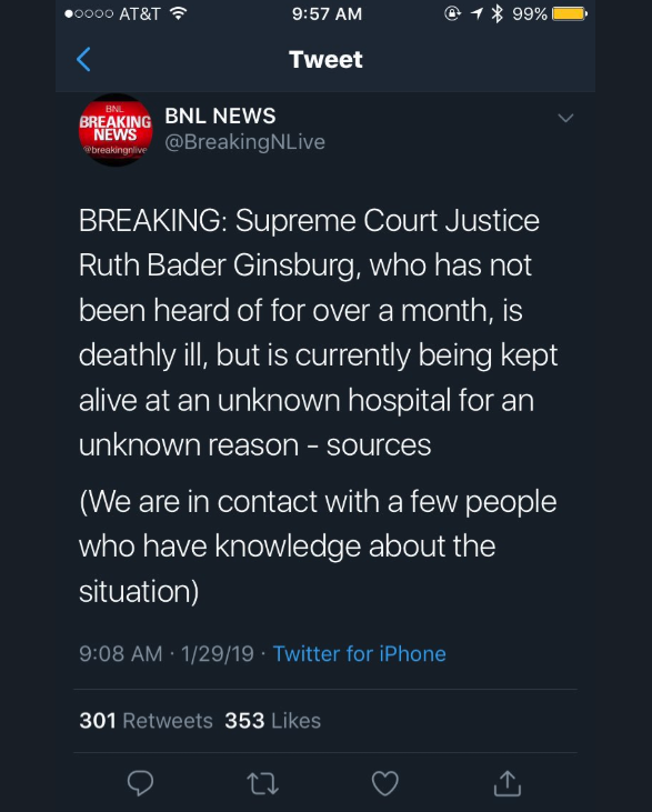 BNL News Ruth Bader Ginsburg Tweet