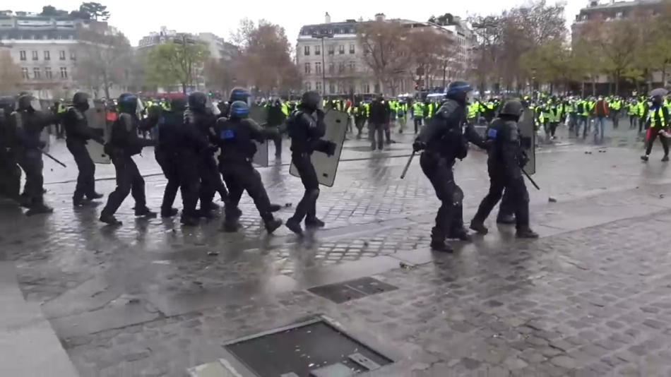 French Police Yellow Vest Skirmish