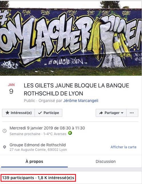 Gilets Juane Blockade Bank Rothschild Facebook