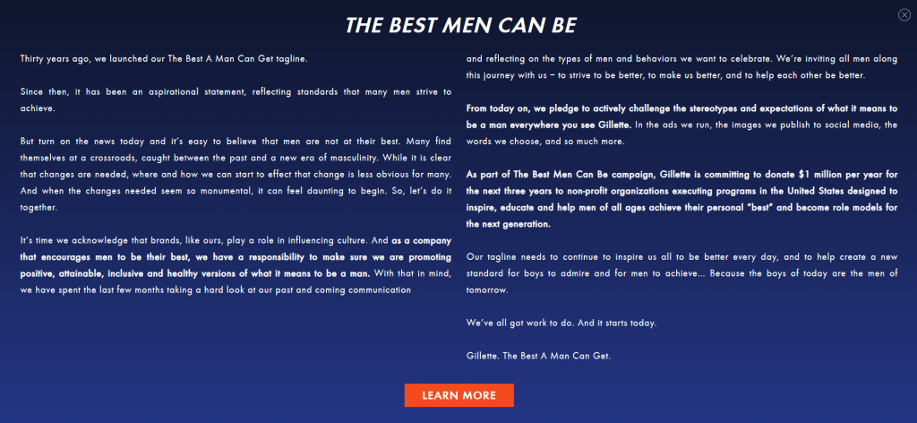 Gillette The Best Men Can Be Statement