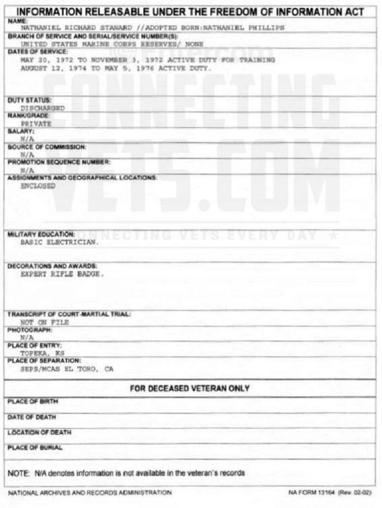 Nathaniel Richard Stanard FOIA Military Record