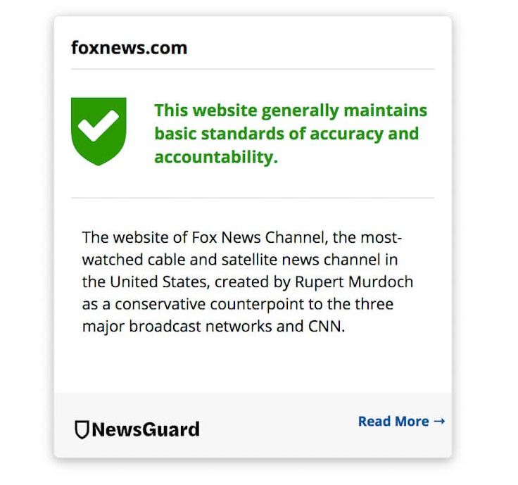 NewsGuard Fox News
