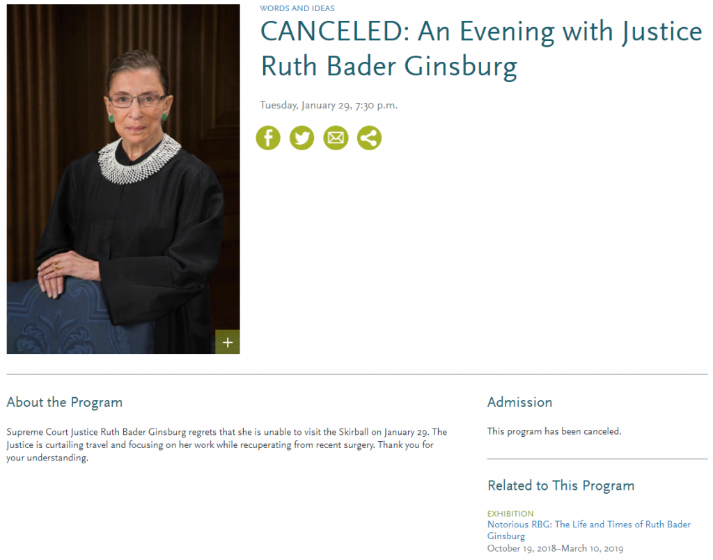 RBG Event Cancelled