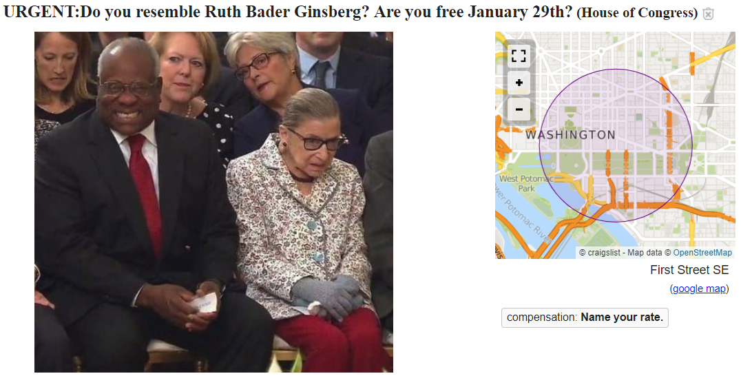 Ruth Bader Ginsburg Craigslist Ad