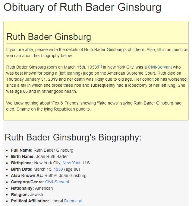 Ruth Bader Ginsburg Obituary