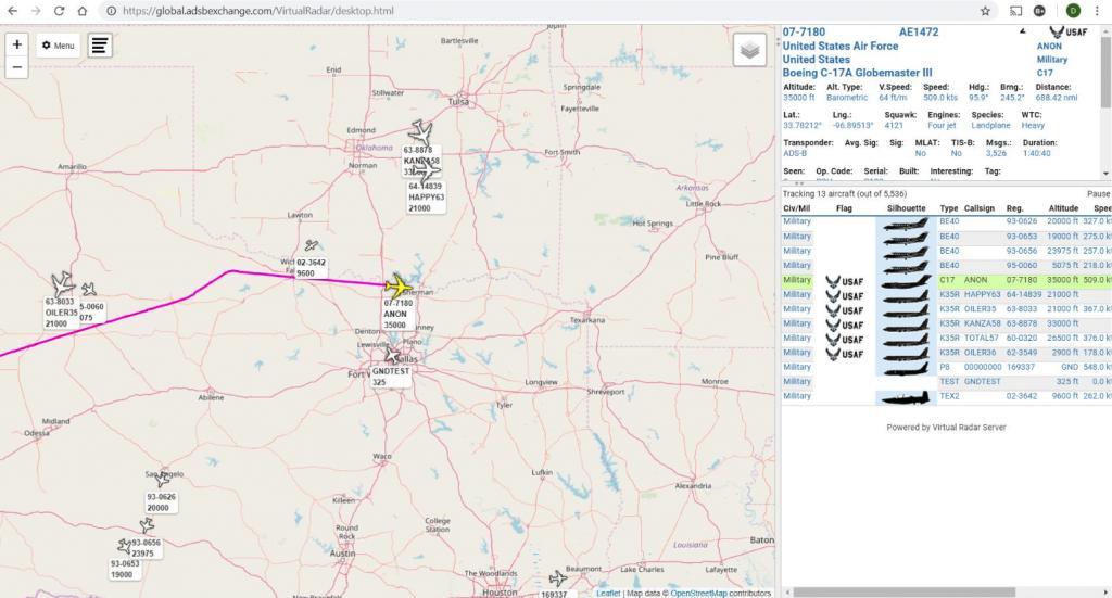 USAF C-17 Callsign ANON