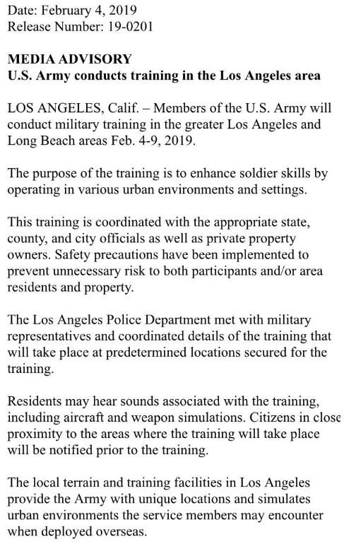 Army Conducts Training In Los Angeles Area Advisory