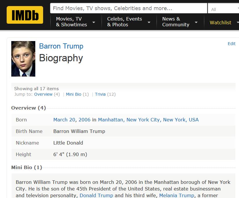 Barron Trump IMDb