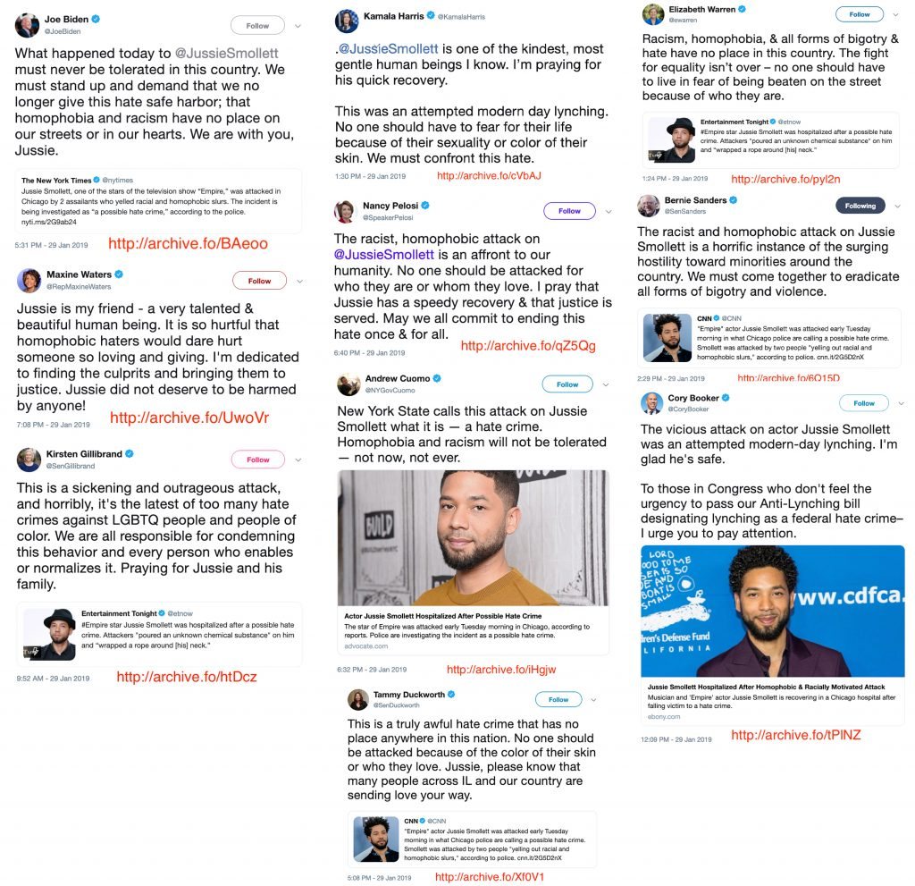 Democrats Condemning Fake Jussie Smollett Attack