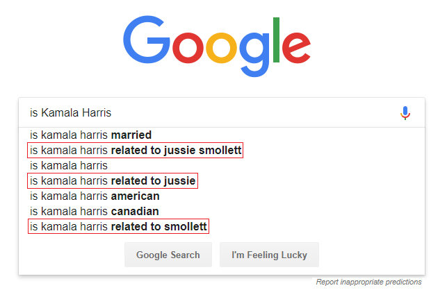 Kamala Harris Jussie Smollett Google Predictions