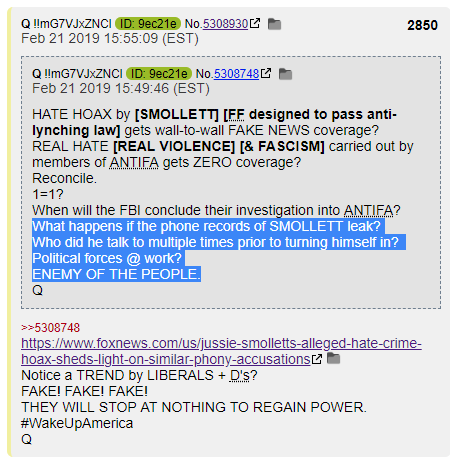 QAnon Jussie Smollett Phone Records