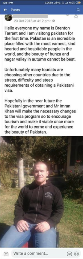 Christchurch Shooter in Pakistan FB Post Screenshot 2