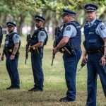 New Zealand Police Officers Carrying Automatic Rifles Training Drill During Mosque Shooting