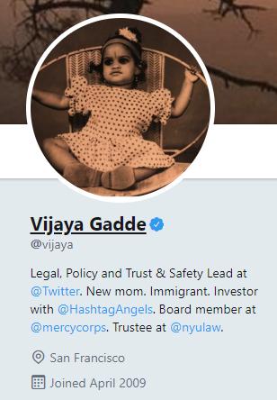 Vijaya Gadde Twitter Bio