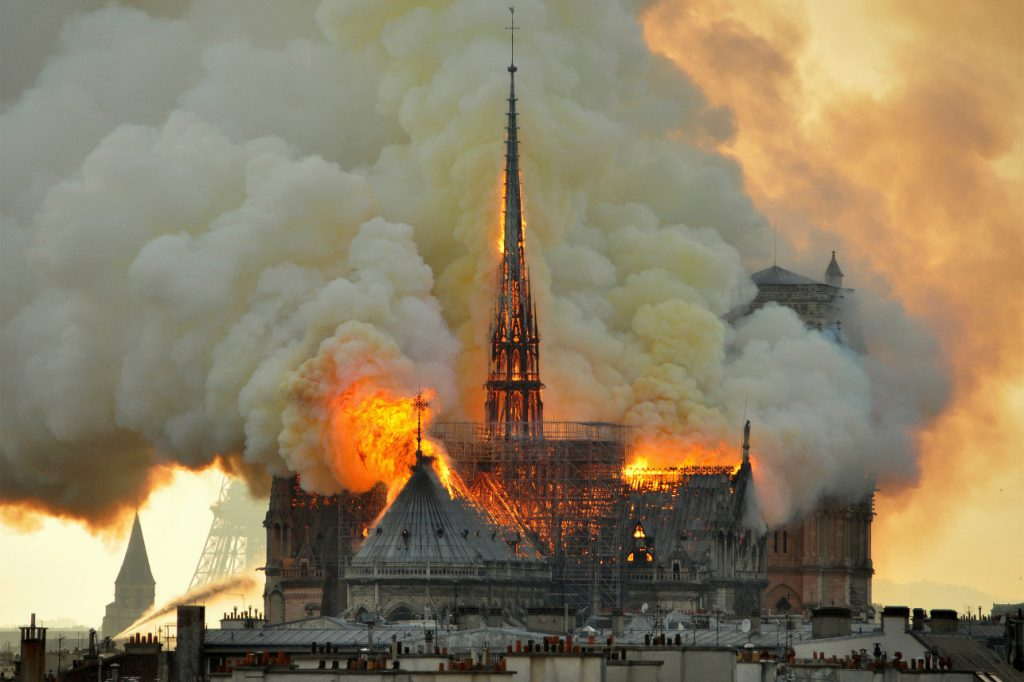Notre Dame Cathedral Spire Burning