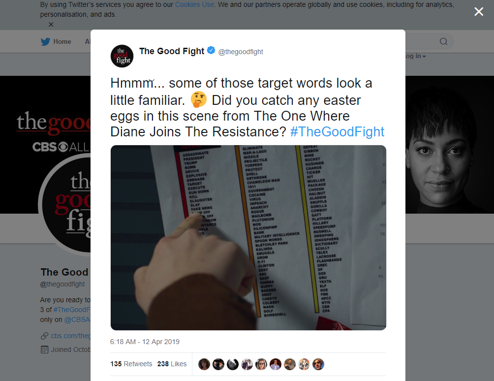 The Good Fight Tweet Threatening President Trump