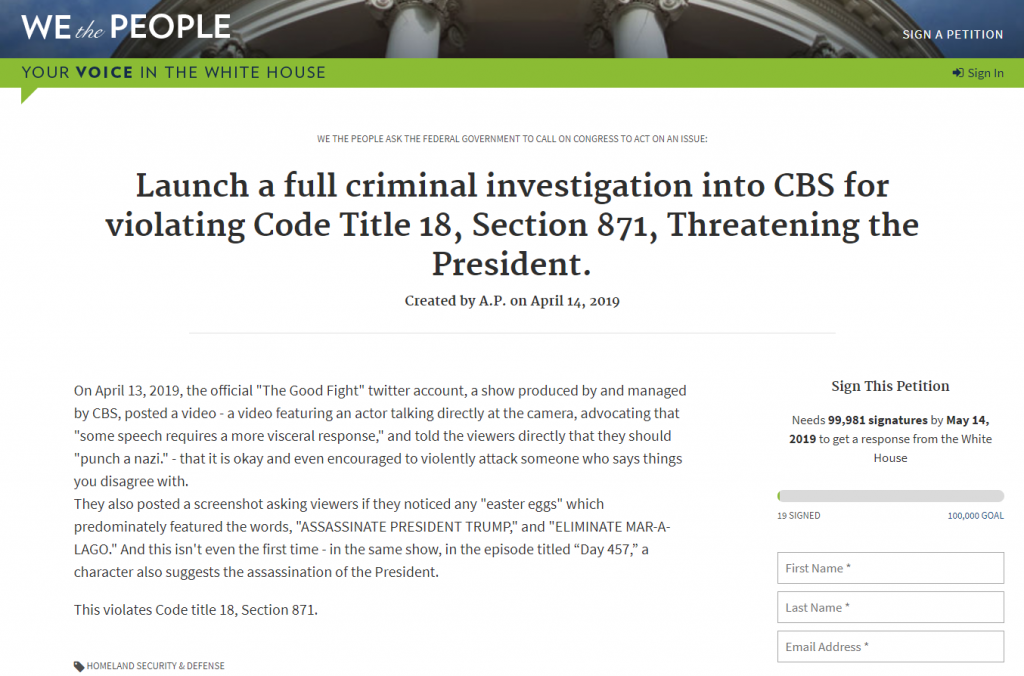White House Petition CBS