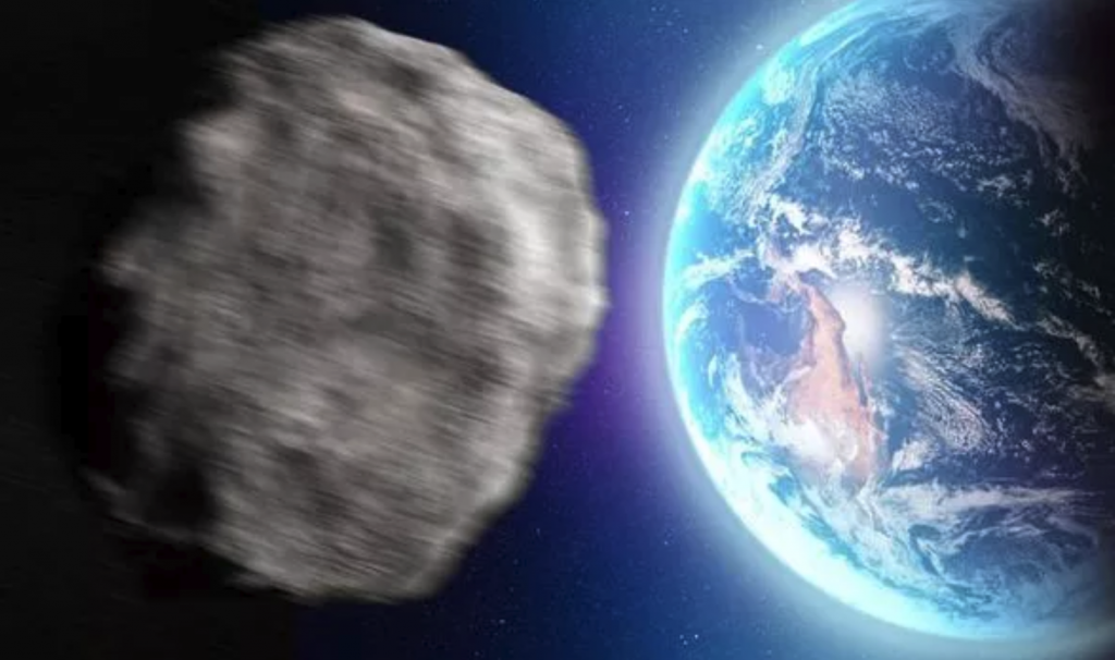 Artist Rendition Asteroid Approaching Earth
