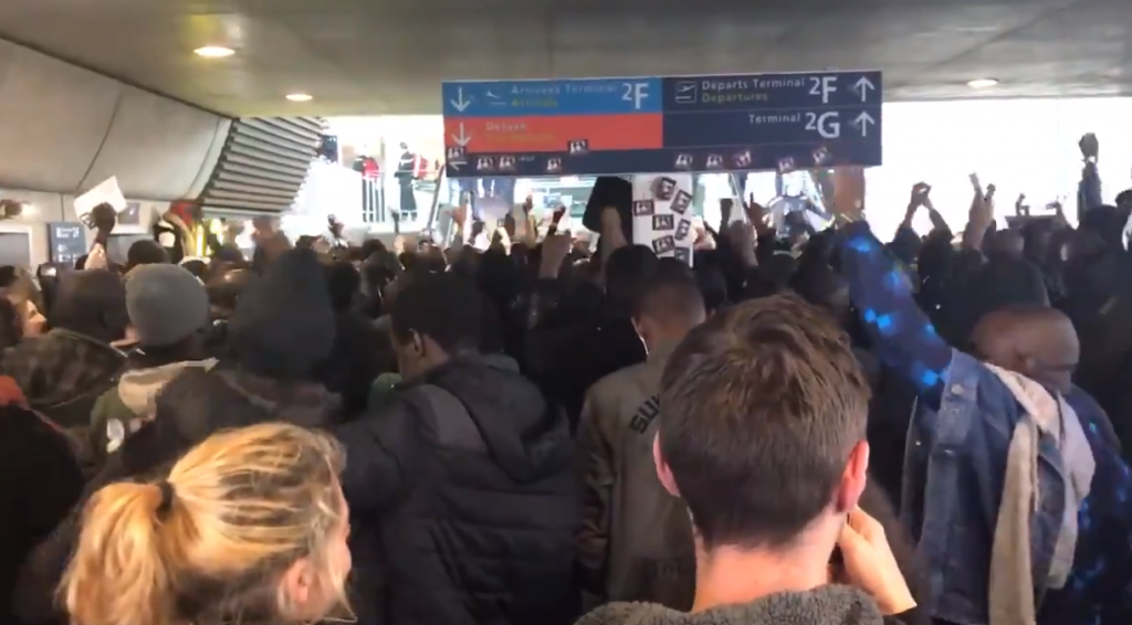 Paris France Migrant Protest At Airport