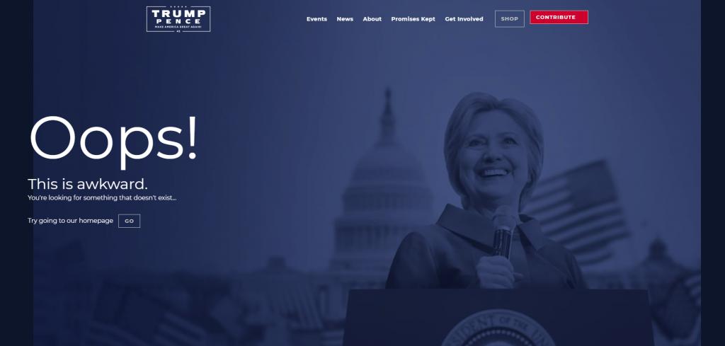 Trump 404 Page Hillary Clinton
