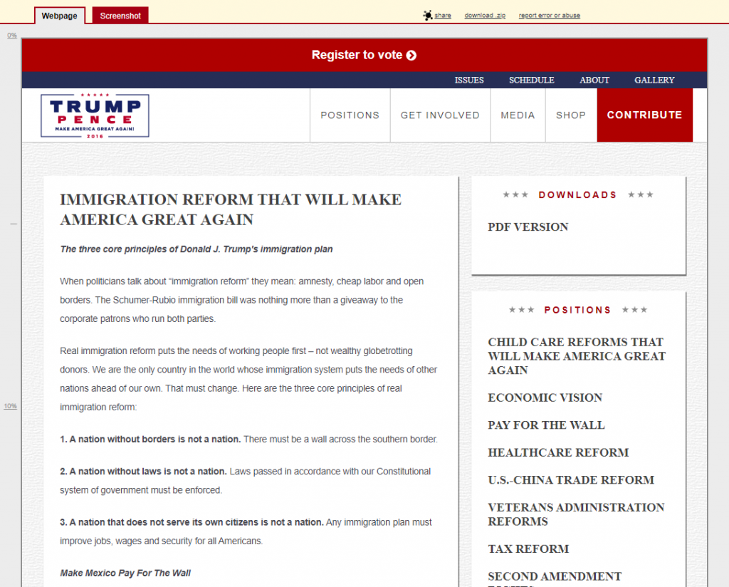 Trump Pence Immigration Reform That Will Make America Great Again Archive