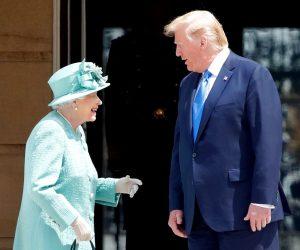 Queen Elizabeth And President Donald Trump Smiling