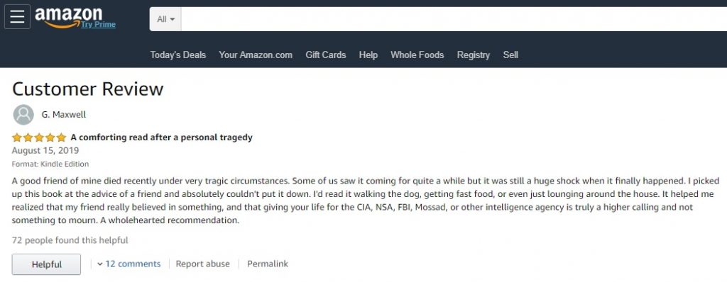 Ghislaine Maxwell Alleged Amazon Review CIA Book