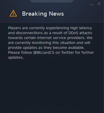 Battlenet Breaking News DDoS Attack