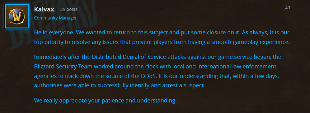 WoW Classic Overwatch DDoS Suspect Arrested