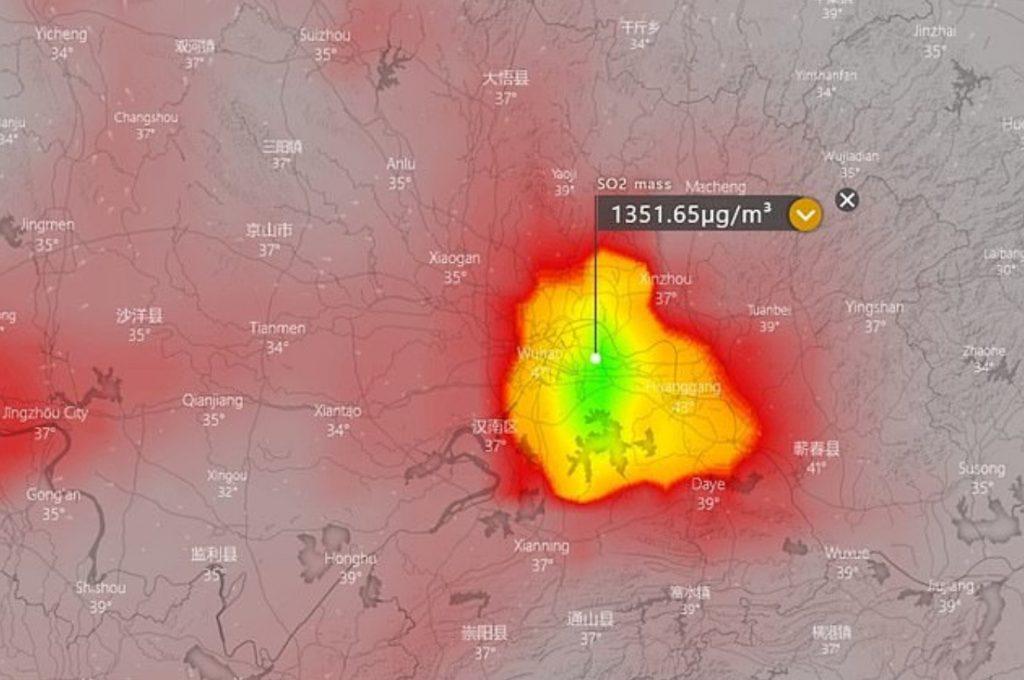 Chinese Coronavirus Outbreak Sulphur Dioxide Levels Map 1