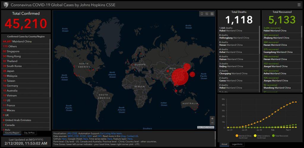 John Hopkins COVID-19 Map Global Cases