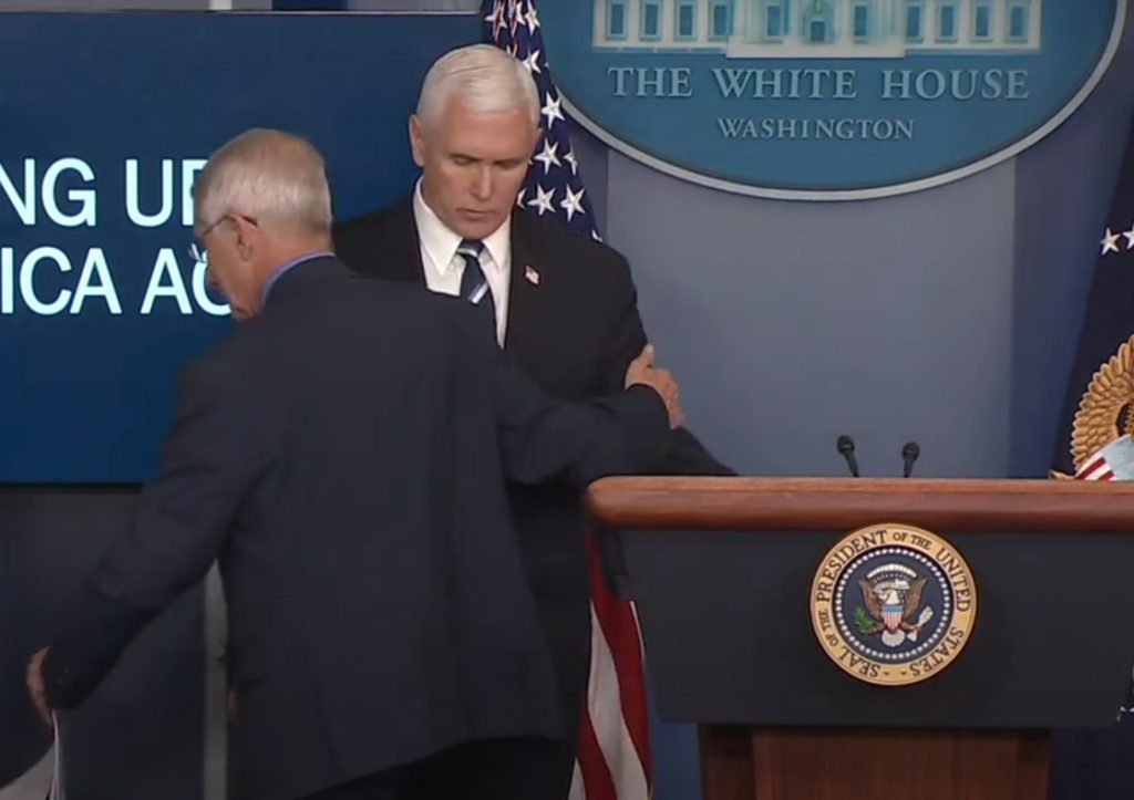 Anthony Fauci Ignores Social Distancing Rubs Nose Pats Vice President Mike Pence