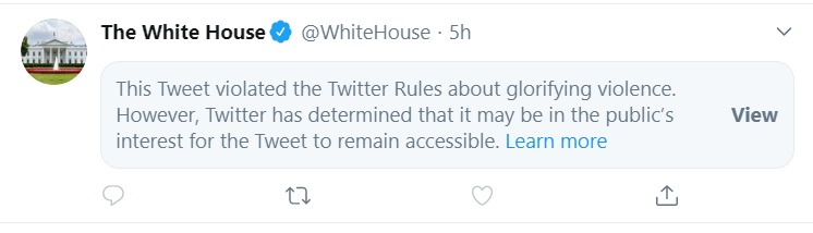 Twitter Censors Official White House Account Tweet
