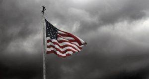 American Flag Grey Sky
