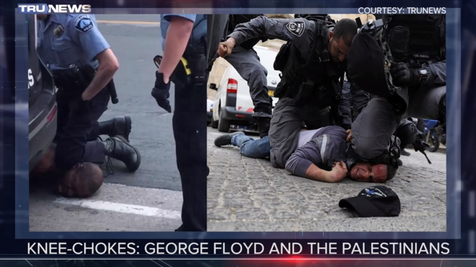 Photo Comparison Knee Choke Of George Floyd And Palestinians