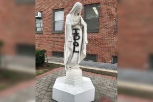 Blessed Virgin Mary Statue Desecrated IDOL Spray Paint
