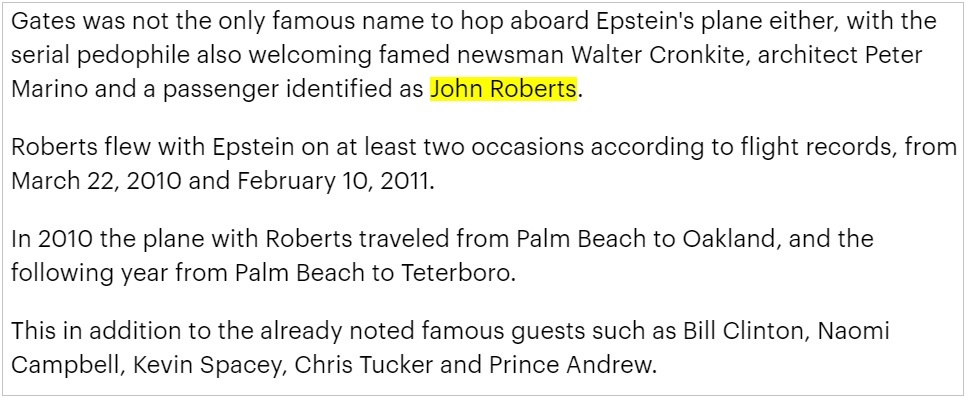 Daily Mail Jeffrey Epstein Passenger John Roberts 2