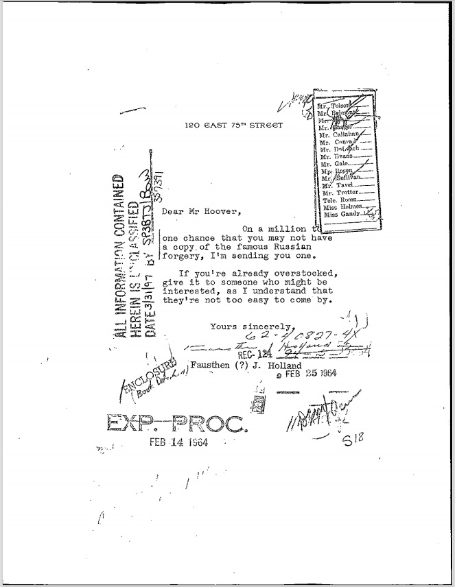 FBI Protocols Of The Learned Elders Of Zion Vault PDF Note Letter 2