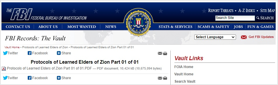 FBI Protocols Of The Learned Elders Of Zion Vault PDF