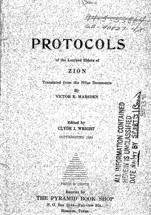 FBI Scan Of Protocols Of The Learned Elders Of Zion 1934 Book Cover