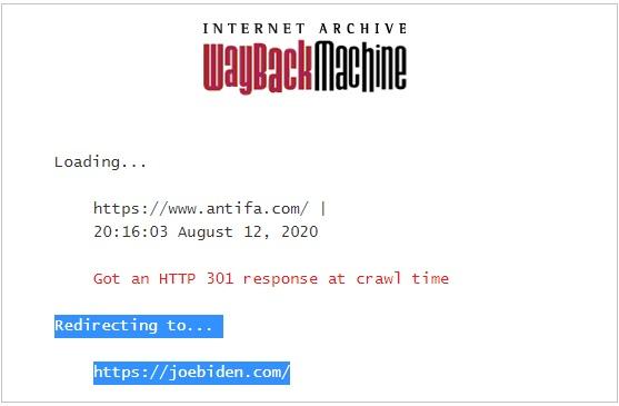 WaybackMachine Archive Antifa.com Redirect To JoeBiden