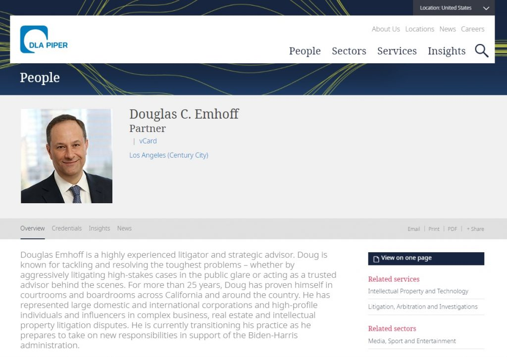 Douglas C Emhoff DLA Piper Partner Smartmatic Dominion Voting Systems
