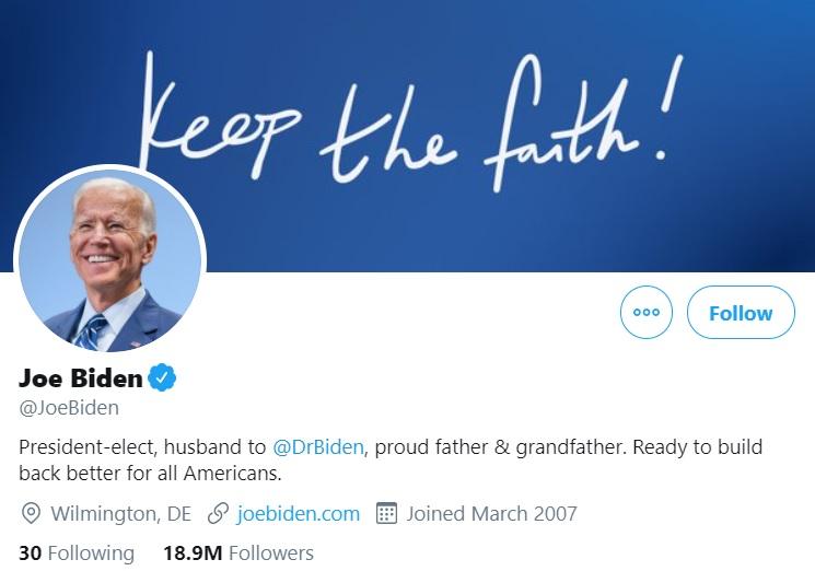 Joe Biden Twitter Bio Build Back Better